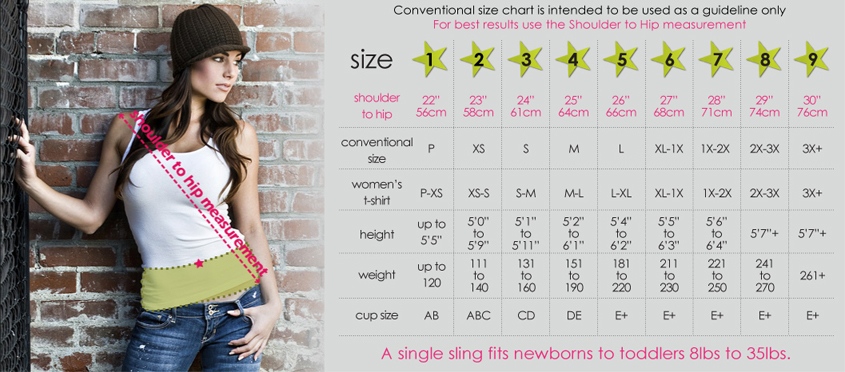 Seven Slings Baby Sling Size Chart | www.mylittlebabybug.com