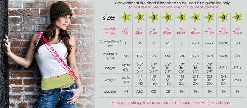Seven Slings Baby Sling Size Chart | www.mylittlebabybug.com